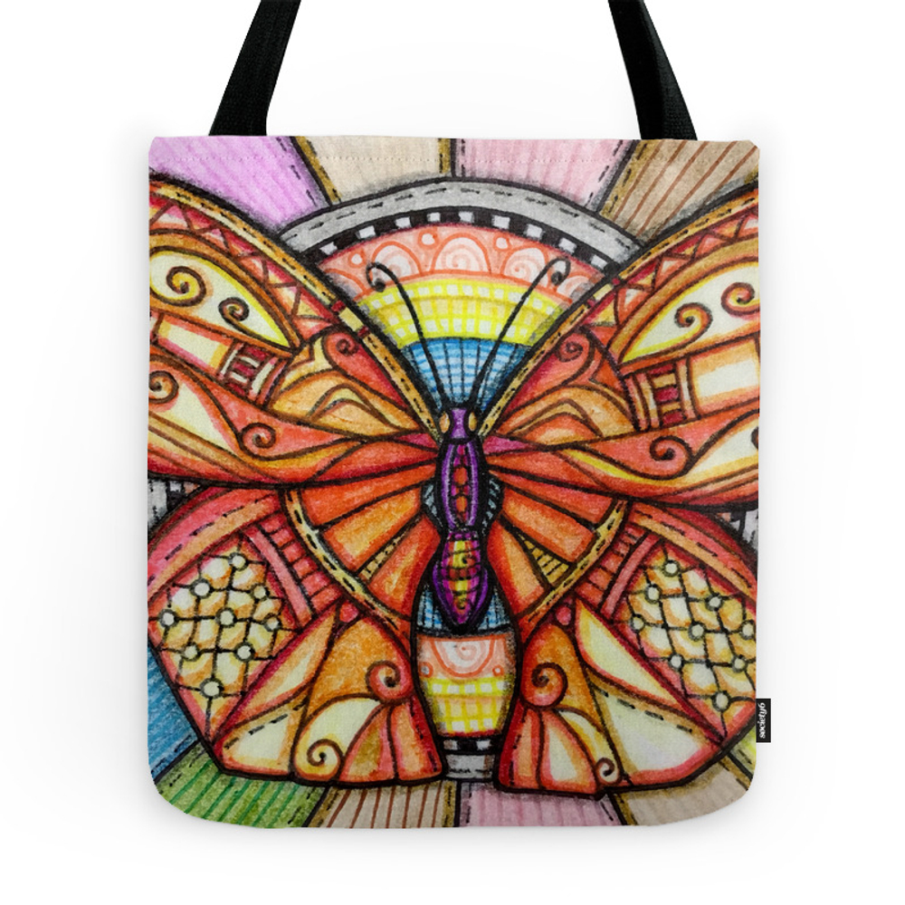 Fabric Butterfly Square Tote Purse by alohalani (TBG7711257) photo