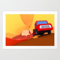 escape from volcano (low-poly) Art Print