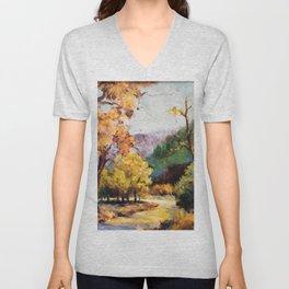Fall Landscape Scene, Painting Unisex V-Neck