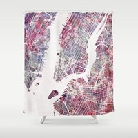 new york map Shower Curtains featuring new york map by MapMapMaps.Watercolors