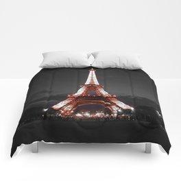 Paris Eiffel Tower Pink Night Comforters