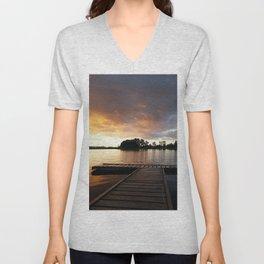 bridge pier decline sky landscape colors picturesque Unisex V-Neck
