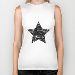Black and White Christmas Typography Design Biker Tank
