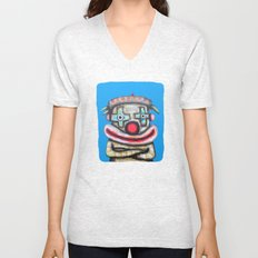 Clown with small advertisement Unisex V-Neck