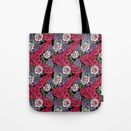 Chevron Floral Black Tote Bag