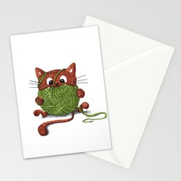 Brown cat playing with a ball of yarn Stationery Cards