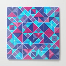 Tangram tiles in blue Metal Print