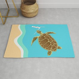 Skip the Straw Save a Sea Turtle Rug