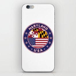 Maryland, Maryland t-shirt, Maryland sticker, circle, Maryland flag, white bg iPhone Skin
