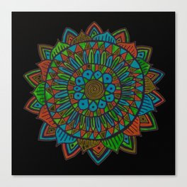 Glow Doodle Mandala Canvas Print