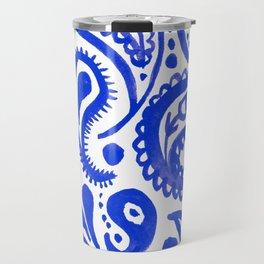 Handpainted Paisley Pattern Purple Color Travel Mug