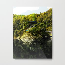 Pokhara Lake Boat House - Digital Illustration Metal Print