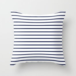 Horizontal Navy Blue Stripes Pattern Throw Pillow