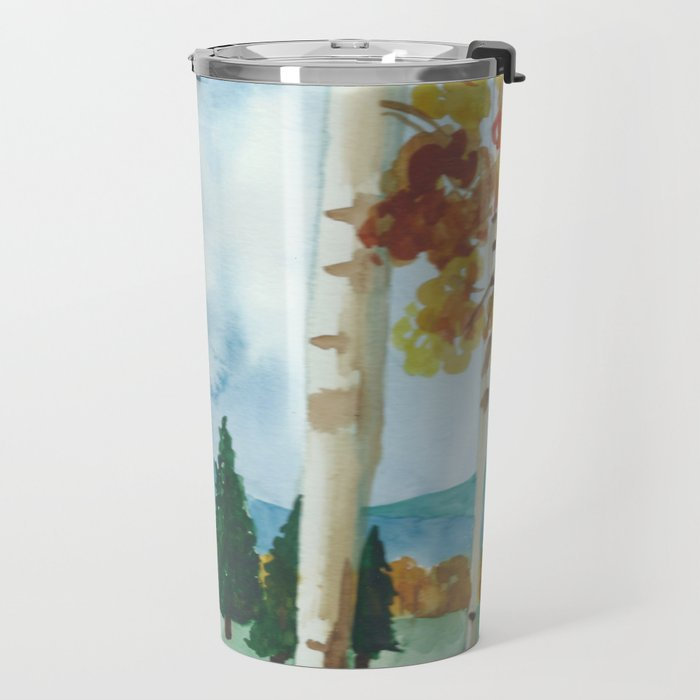 watercolor landscape // aspen forest flagstaff arizona in autumn fall trees Travel Mug