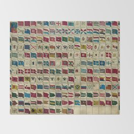 Vintage Naval Flags of The World Illustration Throw Blanket