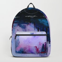 Dawn, pink and fushia black and blue acrylic abstract artwork Backpack