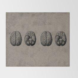 Row o' Brains - Engraving - Vintage - Old Black, White & Brown Throw Blanket