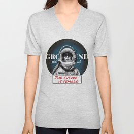 The Future is female space astronaut girl Unisex V-Neck