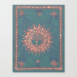Turquoise and Rose Copper Tarot Sun Canvas Print
