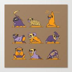 Pug Yoga Halloween Monsters Canvas Print