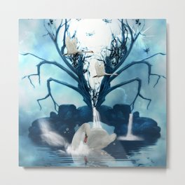 Beautiful white swan Metal Print