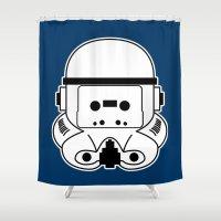 cassette Shower Curtains featuring Cassette Trooper by cudatron