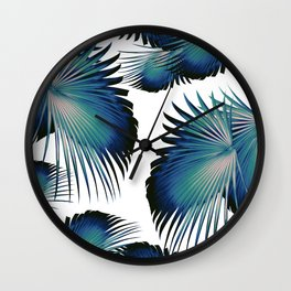 Fan Palm Leaves Paradise #1 #tropical #decor #art #society6 Wall Clock