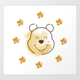 Inspired Pooh Bear surrounded with bees Art Print
