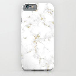 Fine Gold Marble Natural Stone Gold Metallic Veining White Quartz iPhone Case