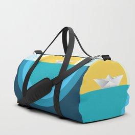 Paper boat in the sea Duffle Bag