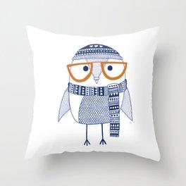 Hipster owl - orange glasses Throw Pillow
