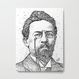 ANTON CHEKHOV ink portrait Metal Print