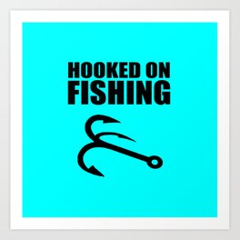 Hooked on fishing sports logo Art Print