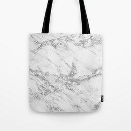 Elegant chic white gray silver glitter marble Tote Bag