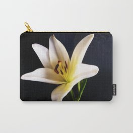 Single White Lily on black Carry-All Pouch