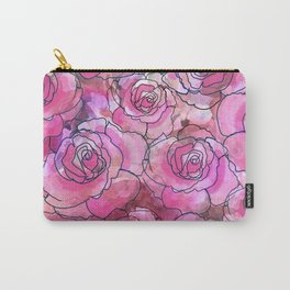 Pink Watercolor Roses Carry-All Pouch