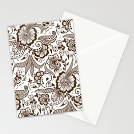 Mehndi or Henna Flowers and Leaves Stationery Cards