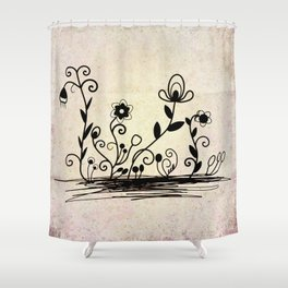 Flowers on old paper Shower Curtain