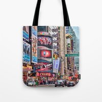 broadway Tote Bags featuring Broadway, NYC by June Marie