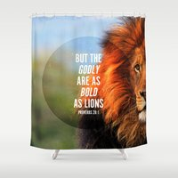 pocketfuel Shower Curtains featuring BOLD AS LIONS by Pocket Fuel