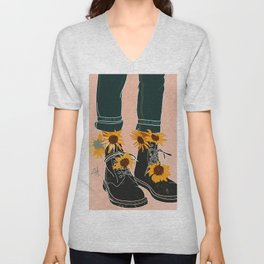 Sunflowers and Boots Unisex V-Neck
