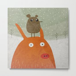 A pig and a rat in the snow Metal Print