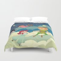 neverland Duvet Covers featuring Off to Neverland! by Kelly Kates