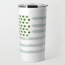 USA Weed Flag American Flag Weed T-Shirt Funny 4:20 Shirt Travel Mug