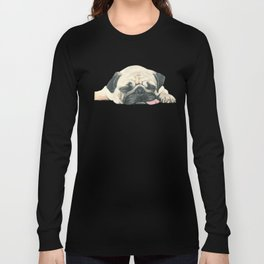 Nap Pug, Dog illustration original painting print Long Sleeve T-shirt