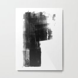 Weathered - Black and White Minimalist Abstract Monotype Metal Print
