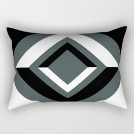 PPG Night Watch, Black and White Geometric Shapes, Diamond Minimal Illustration Rectangular Pillow