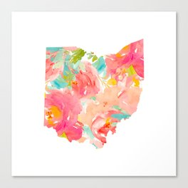 floral ohio state map Canvas Print