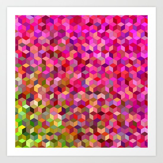Girly cube structure Art Print
