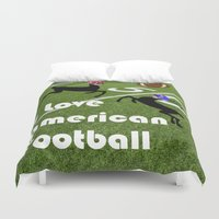 football Duvet Covers featuring American Football by Cs025